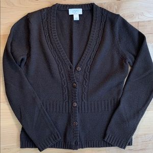 Loft Petite Brown Cardigan Sweater Sz XSP
